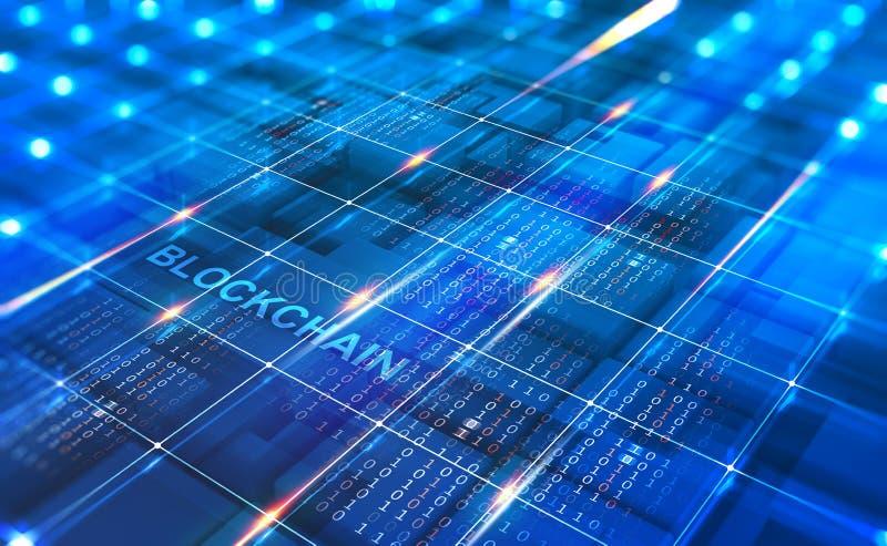 Red abstracta de Blockchain del concepto Tecnolog?a de Fintech libre illustration