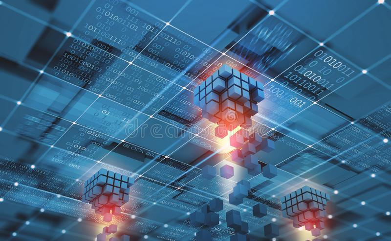 Red abstracta de Blockchain del concepto Tecnolog?a de Fintech Transmisi?n global de la protecci?n y de datos libre illustration