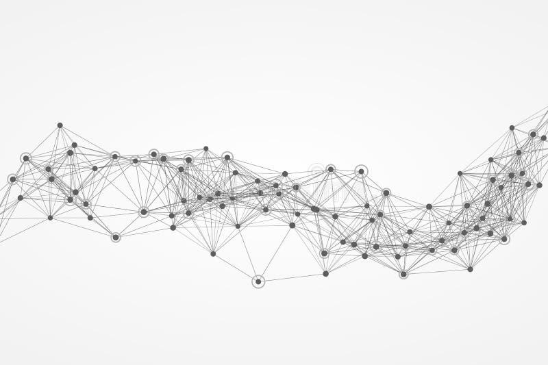 Red abstracta del polígono del vector Ejemplo para técnico, tecnológico, fondo del vector de los materiales de la ciencia ilustración del vector