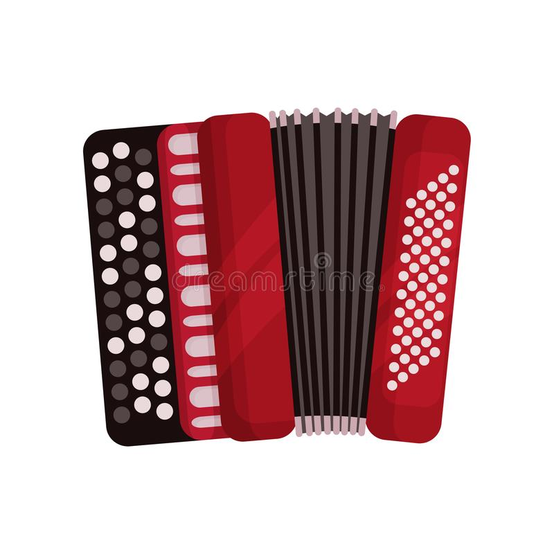 Red accordion, classical bayan, musical instrument vector Illustration on a white background. Red accordion, classical bayan, musical instrument vector vector illustration