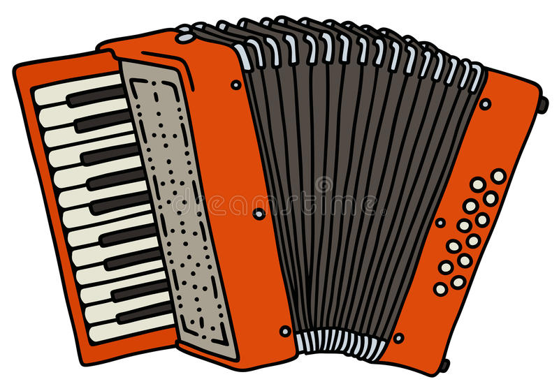 Red accordion. Hand drawing of a red accordion stock illustration