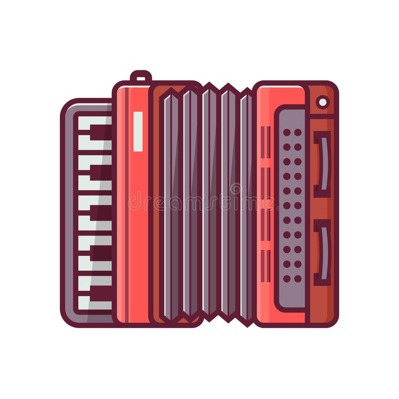 Accordion Vector Line Icon. Red accordion icon in flat design. Vintage harmonica illustration in line art royalty free illustration