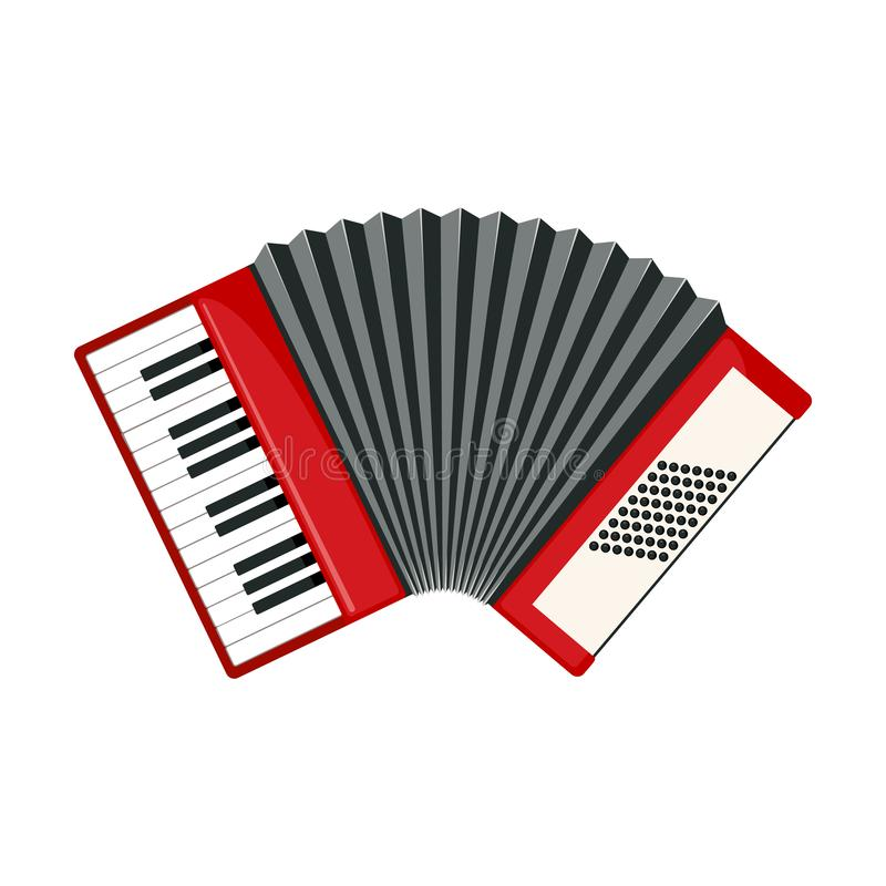 Red accordion icon in flat style isolated on white. Background. Musical instrument sign. Vector illustration stock illustration