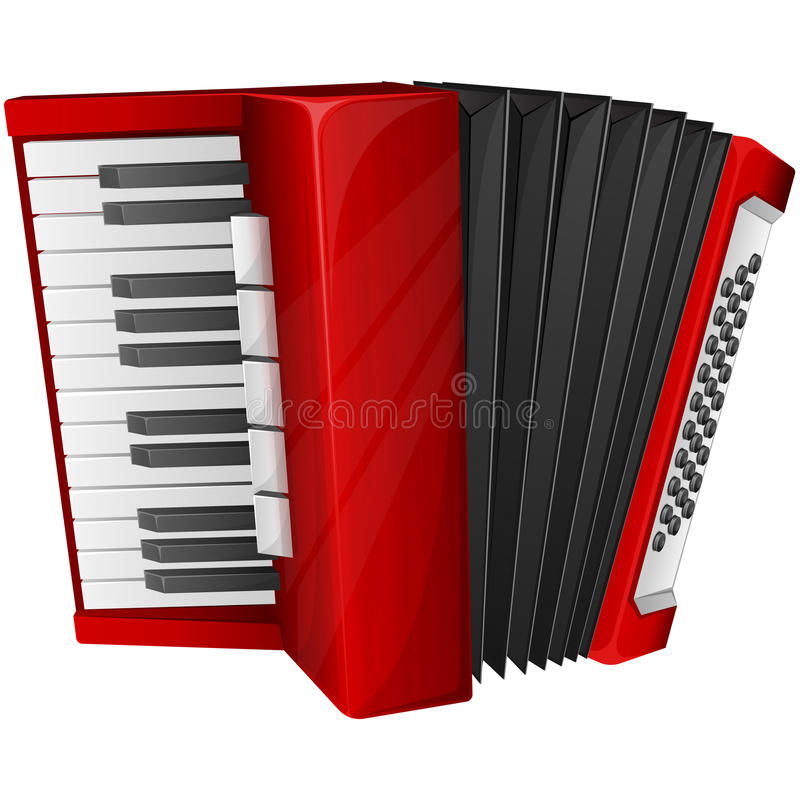 Red accordion. Vector illustration red accordion isolated on white stock illustration