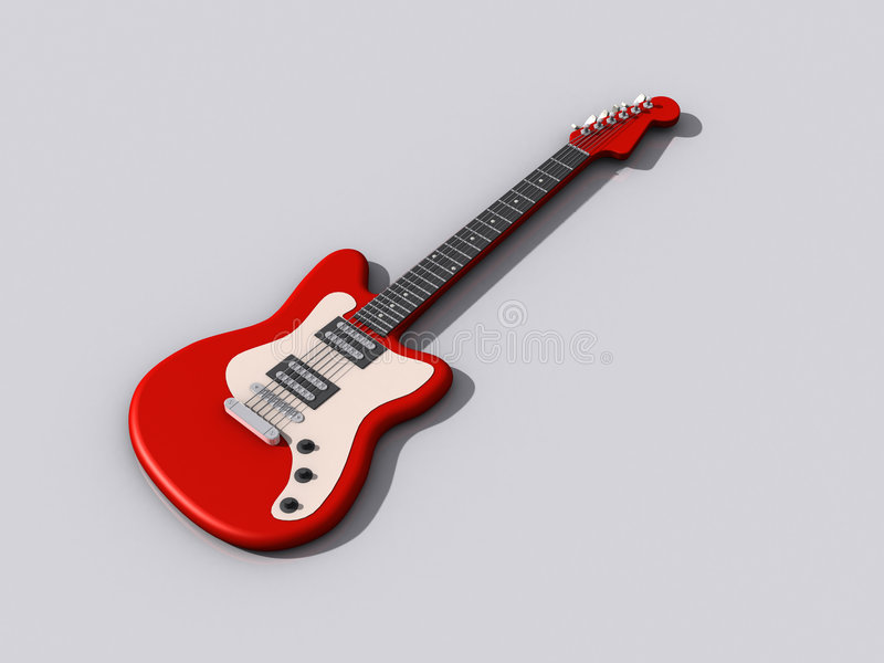Red acousic guitar isolated on white background vector illustration
