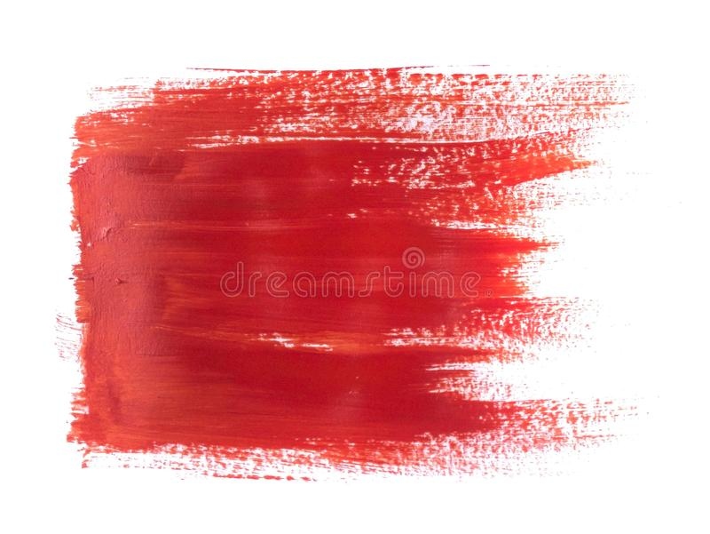 Red Acrylic Paint Stroke Isolated on White Background. Abstract art concept royalty free illustration