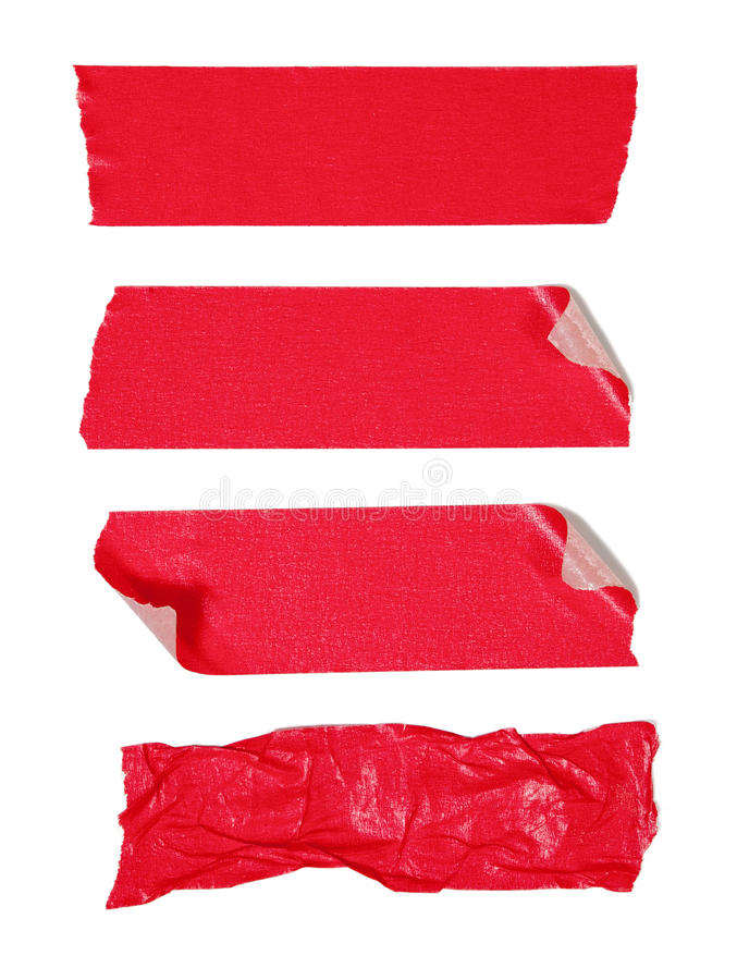 Red adhesive tape. Isolated on white royalty free stock images