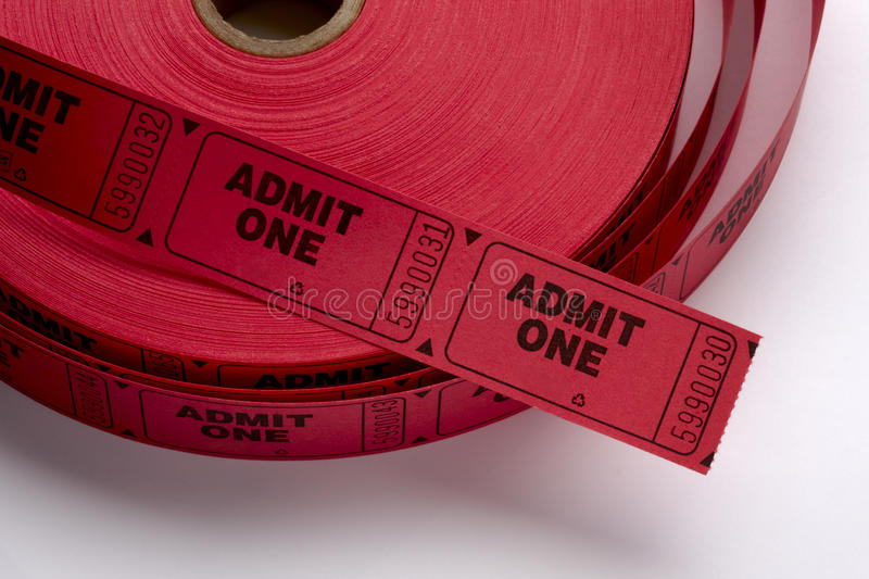 Download Red Admit One Tickets stock image. Image of movie, admission - 11041411