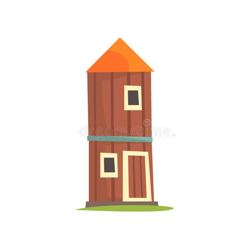 Red agricultural tower, silo, wooden farm building cartoon vector Illustration royalty free illustration