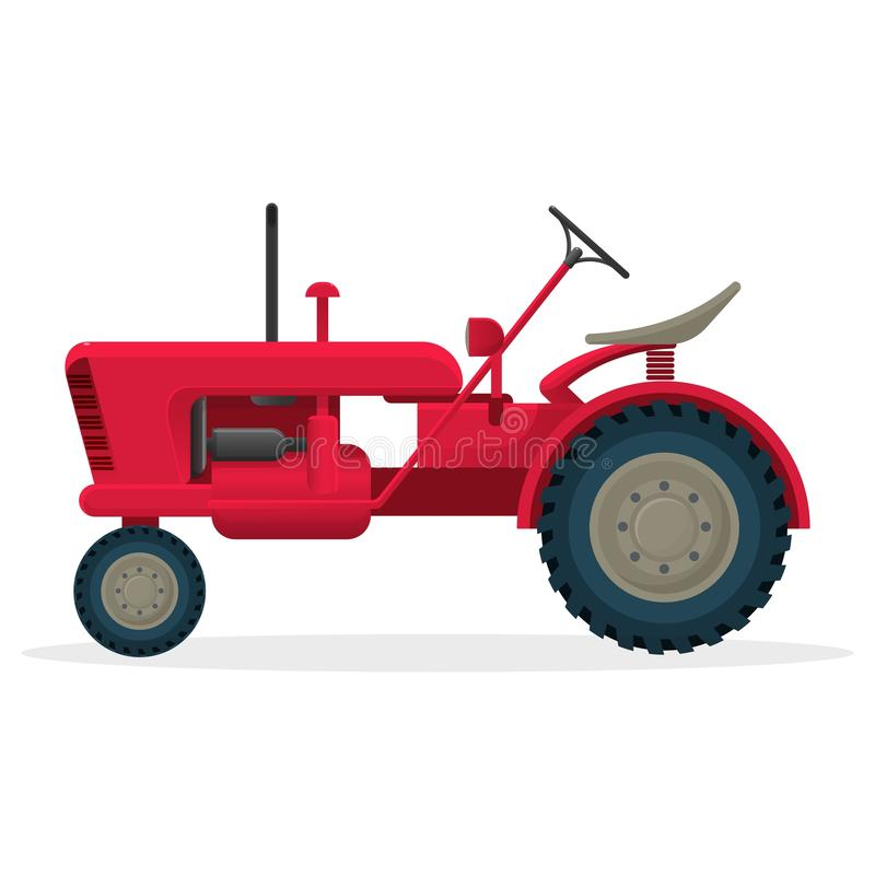 Red agricultural tractor on huge wheels for field works. Rural machinery for harvest collecting. Industrial vehicle isolated realistic flat vector illustration royalty free illustration