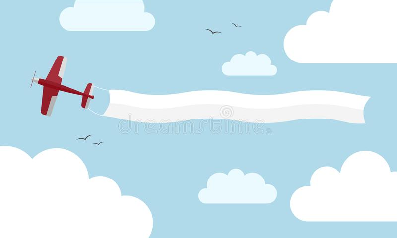 Red airplane with banner stock images