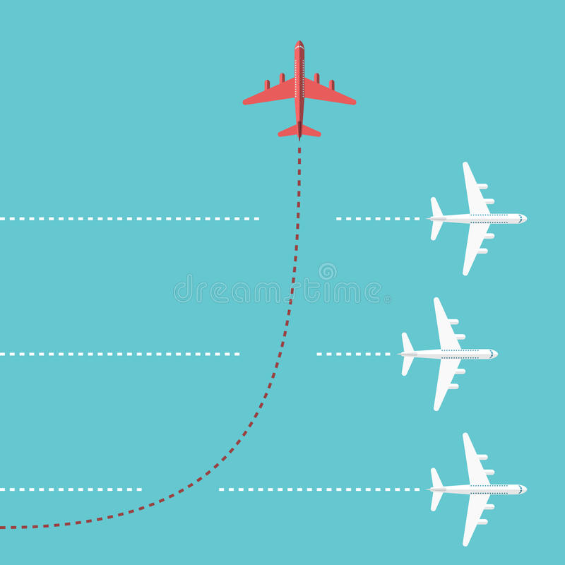 Red airplane changing direction vector illustration