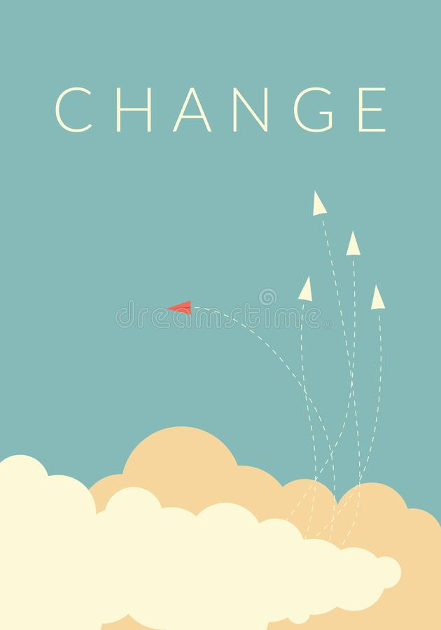 Red airplane changing direction and white ones. New idea, change, trend, courage, creative solution,business, inn. Minimalist stile red airplane changing royalty free illustration