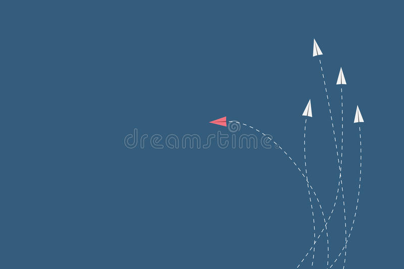 red airplane changing direction and white ones. New idea, change, trend, courage, creative solution, innovation a stock illustration