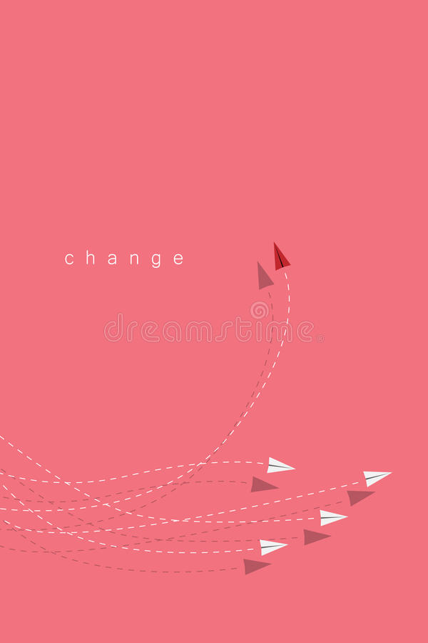 Red airplane changing direction and white ones. New idea, change, trend, courage, creative solution, innovation a. Minimalist stile red airplane changing royalty free illustration