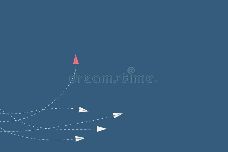 Red airplane changing direction and white ones. New idea, change, trend, courage, creative solution, innovation. Minimalist stile red airplane changing direction stock illustration