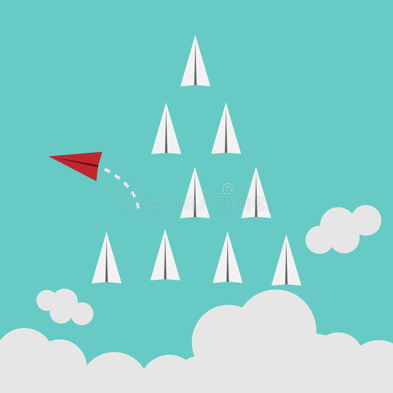 Red airplane changing direction and white ones. New idea, change, trend, courage, creative solution, innovation and unique way con. Red airplane changing royalty free illustration