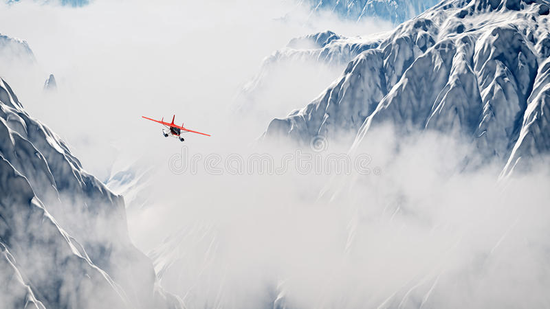 Red airplane flying over snow mountains in the clouds. Aerial shot royalty free stock images