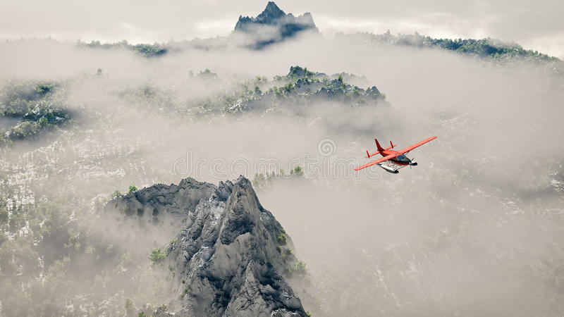 Red airplane flying over snow mountains with pine trees in the clouds. Aerial shot stock photos