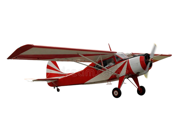 Red airplane, isolated. Isolated red aviation plane (flying stock illustration
