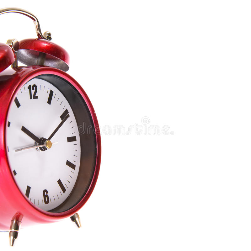 Red Alarm Clock. Isolated. On White Background royalty free stock photo