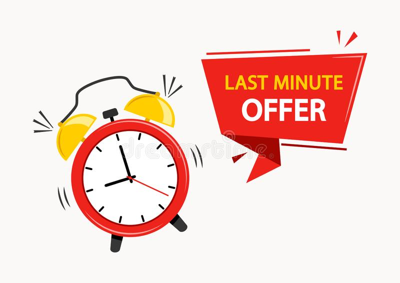Red alarm clock with ribbon banner with inscription LAST MINUTE OFFER. Vector royalty free illustration