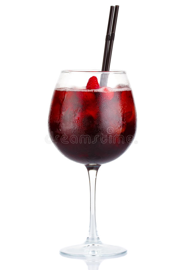 Red alcohol cocktail with red wine and raspberries isolated royalty free stock photos