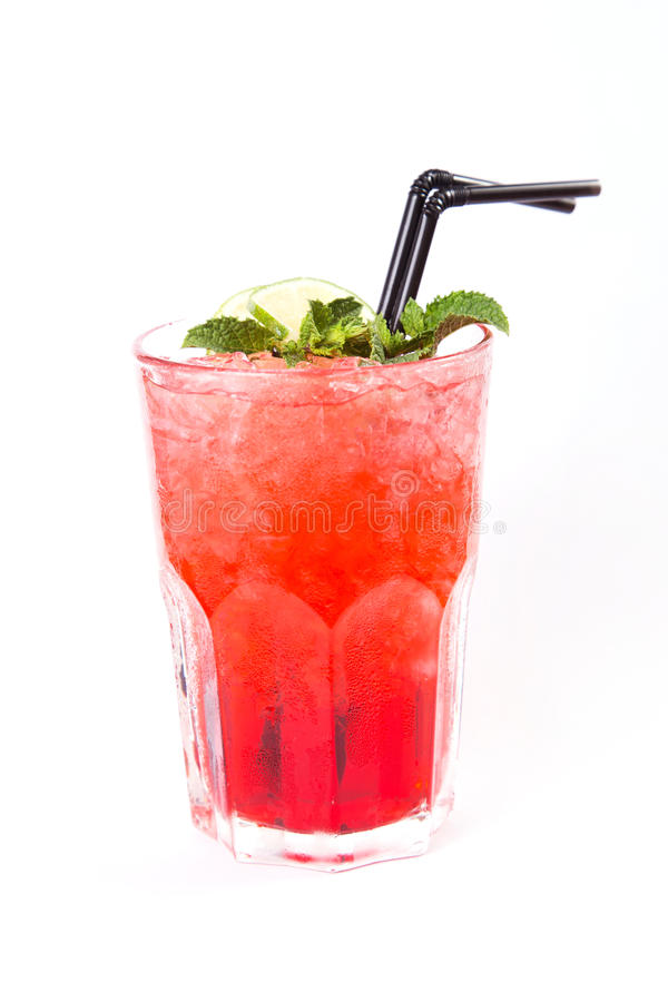 Red alcoholic cocktail. In transparent glass with lemon and mint stock images