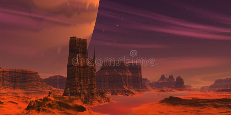 Red alien Desert vector illustration