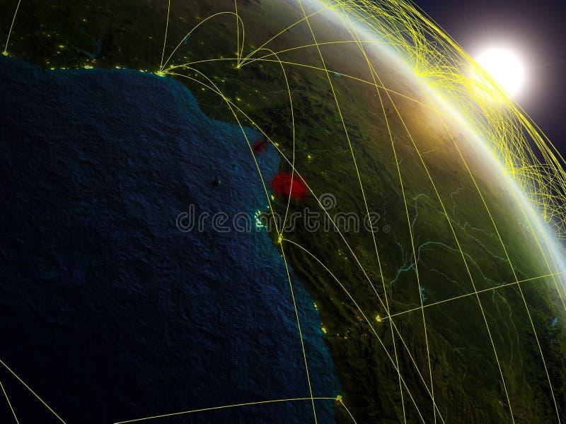 Red alrededor de la Guinea Ecuatorial del espacio ilustración del vector