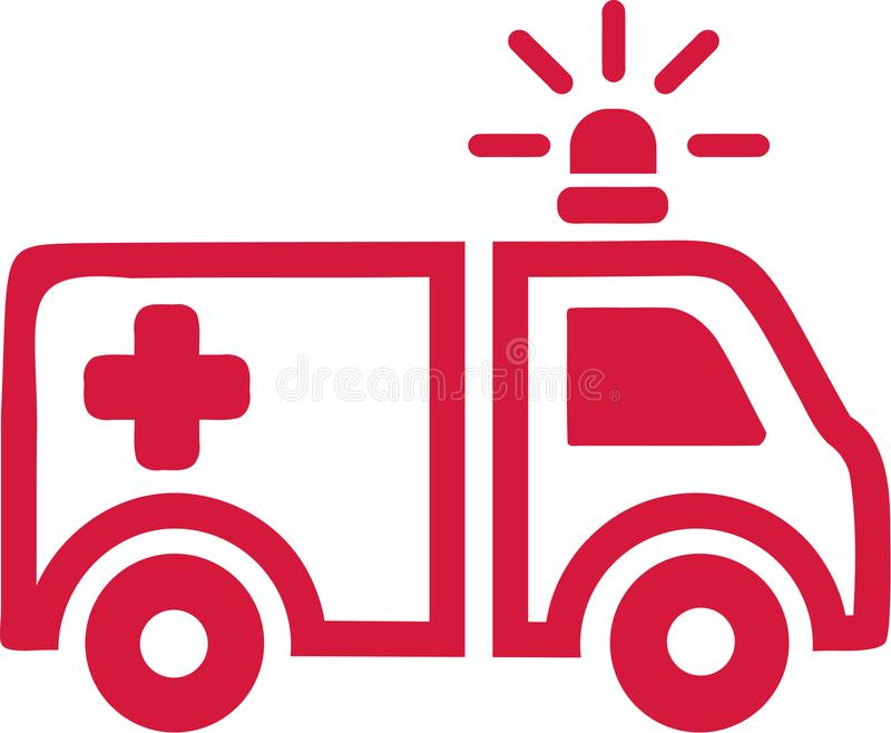Red ambulance car icon. Vector stock illustration
