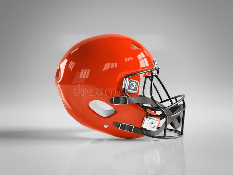 Red American football helmet isolated on grey mockup 3D rendering. Red American football helmet isolated on grey background mockup 3D rendering stock illustration