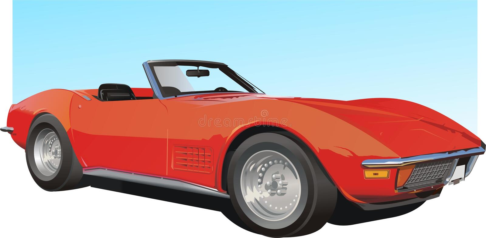 Red American Sports Car stock illustration