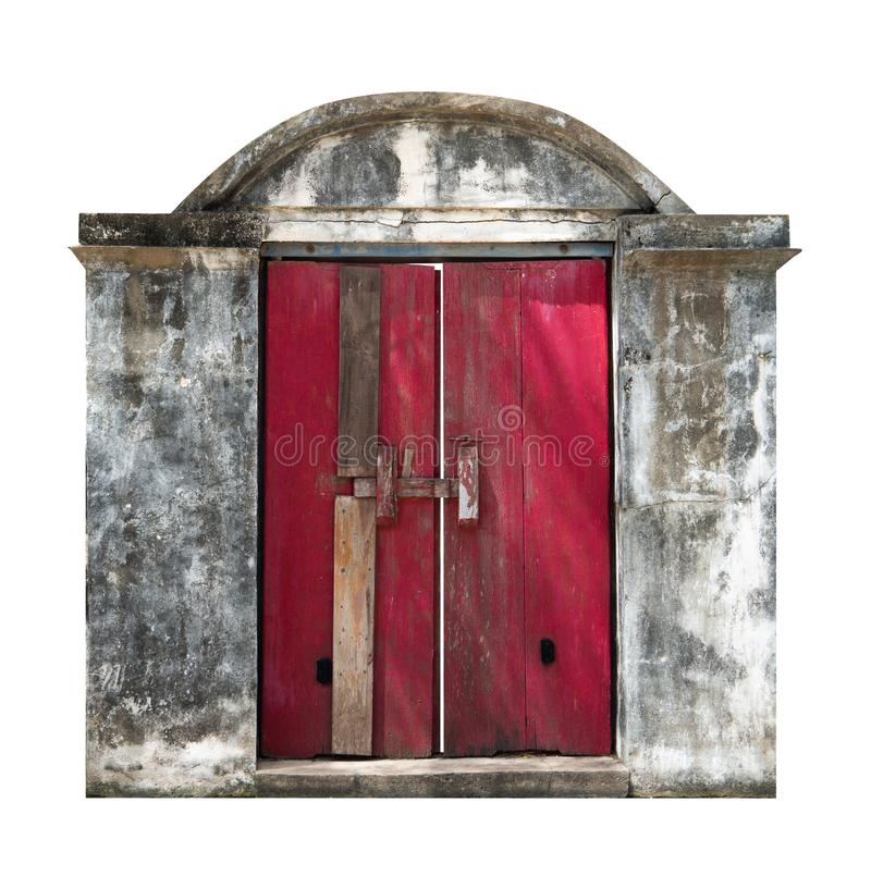 Red ancient temple entrance door, Red old style wooden door on white background isolate royalty free stock photography