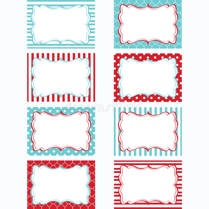 Free Red And Aqua Printable Labels Set.Tags,Photo Frame, Gift Tags, Scrapbooking,Card Making,Invitation. Stock Images - 79246584