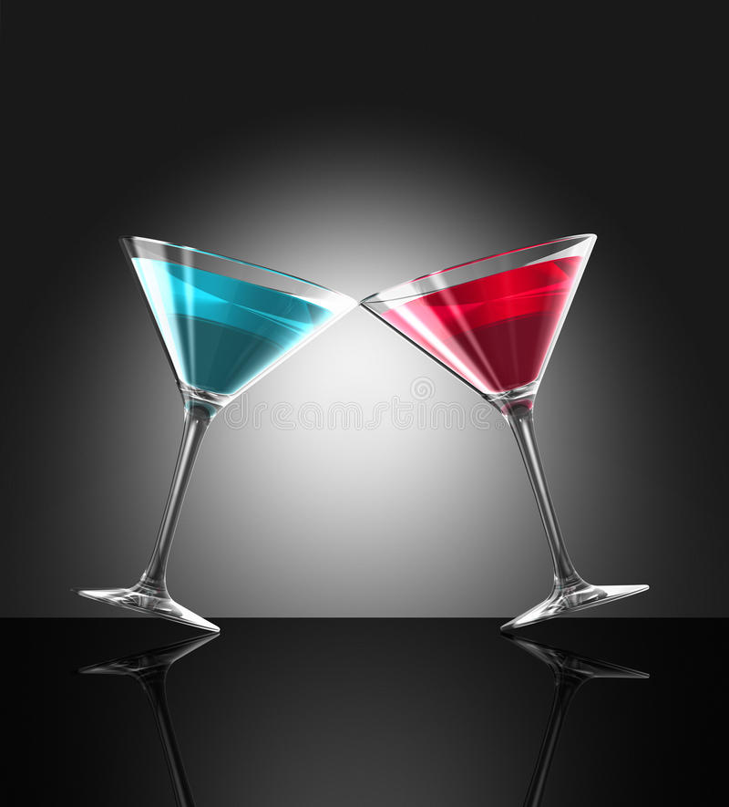 Free Red And Blue Cocktail Glasses Royalty Free Stock Photography - 13289447