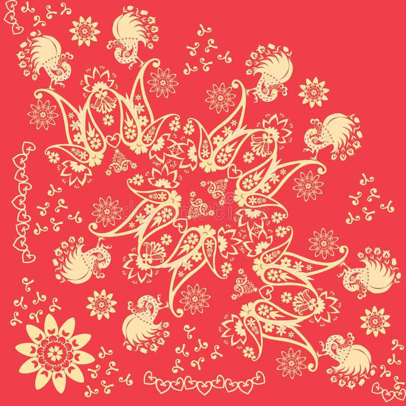 Free Red And Gold Khokhloma Ornamental Quarter Of Shawl. Russian, Indian Motives. Beautiful Vector Illustration With Abstract Flowers Royalty Free Stock Image - 134621186