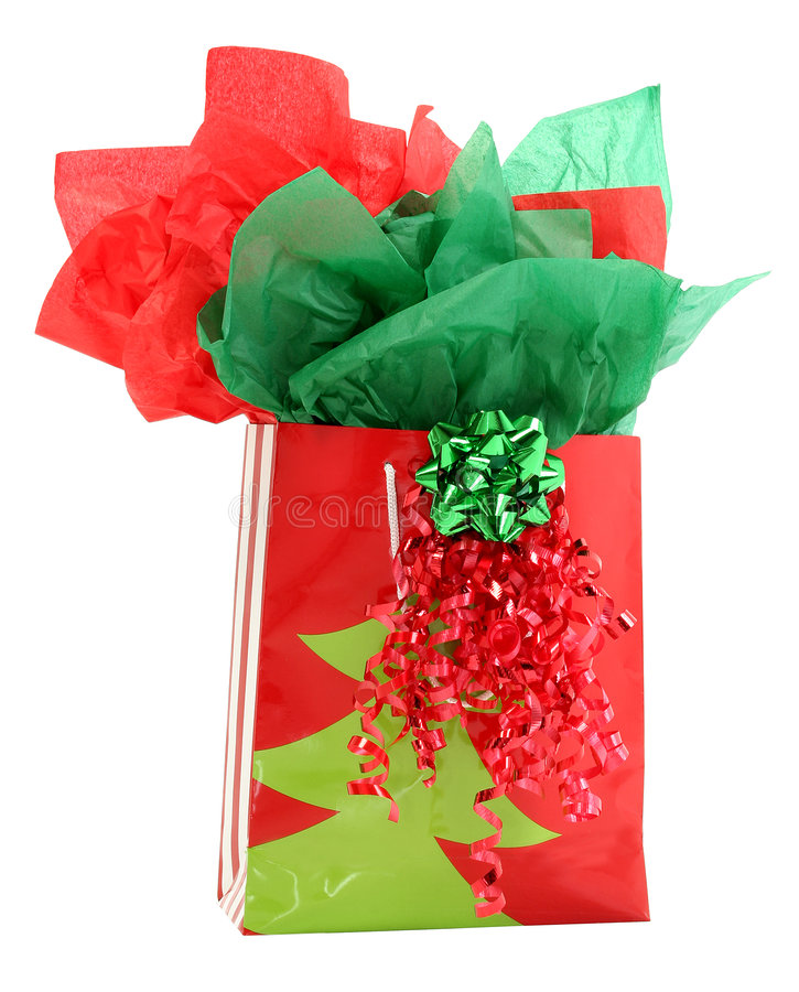Free Red And Green Gift Holiday Gift Bag Royalty Free Stock Image - 390916