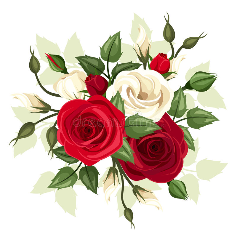Free Red And White Roses And Lisianthus Flowers. Vector Illustration. Stock Image - 47972591