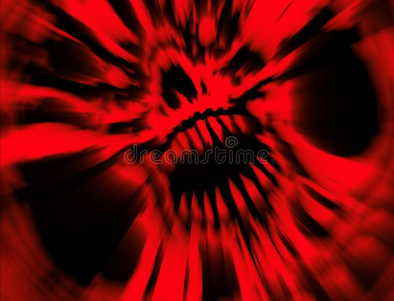 Red angry vampire skull. Illustration in genre of horror. Scary monster face concept. States of mind vector illustration