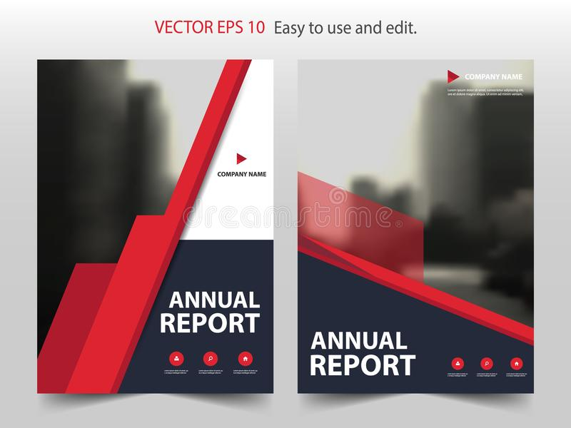 Red annual report Brochure design template vector. Business Flyers infographic magazine poster.Abstract layout template ,Book Cove stock illustration