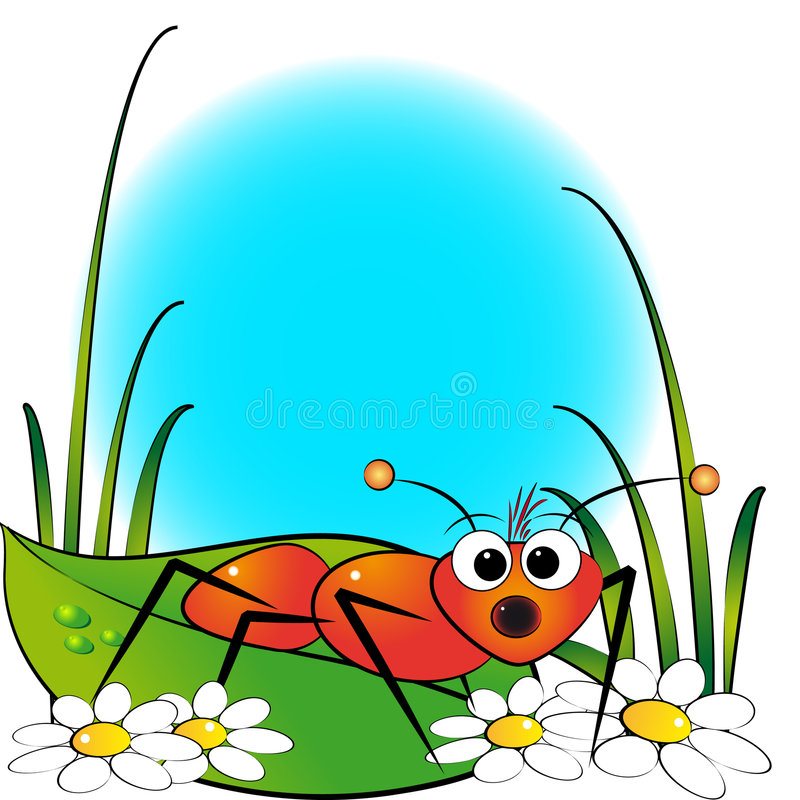 Red ant and daisy - Kid Illustration stock illustration