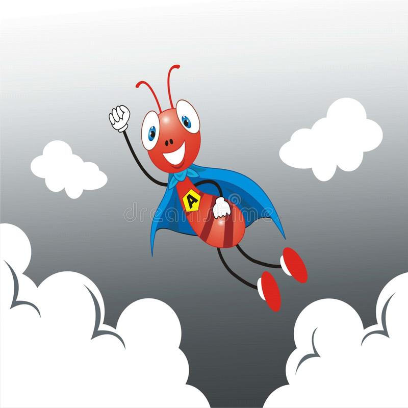 Free Red Ant Super Hero Flying Up Stock Images - 121425084