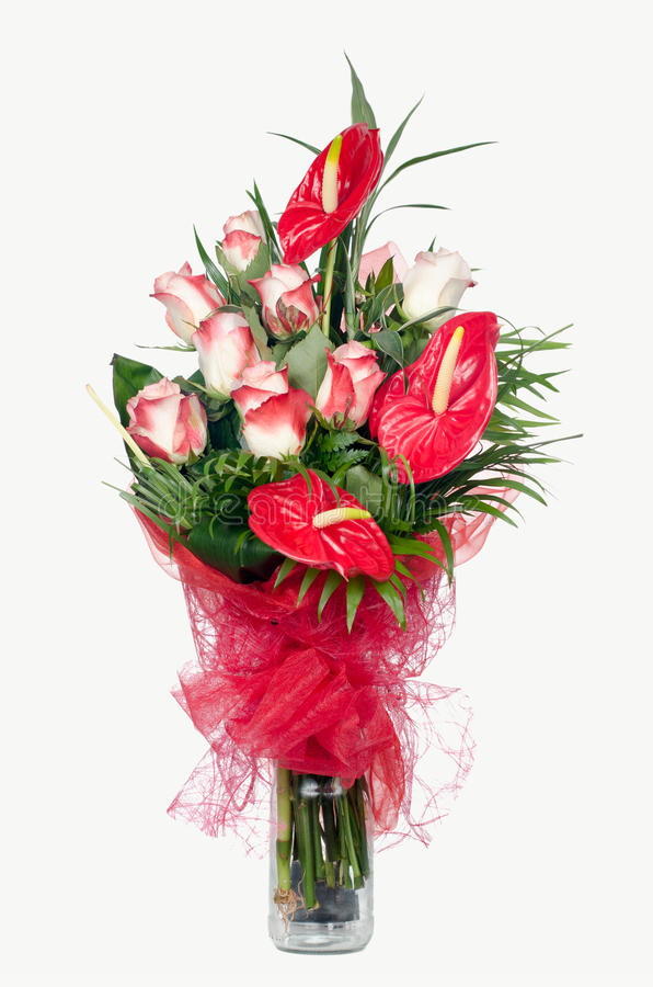 Red Anthurium and Pink Roses. Bouquet isolated on white stock photography