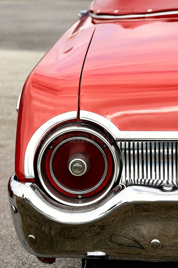 Red Antique Convertible Automobile Round Tail Light