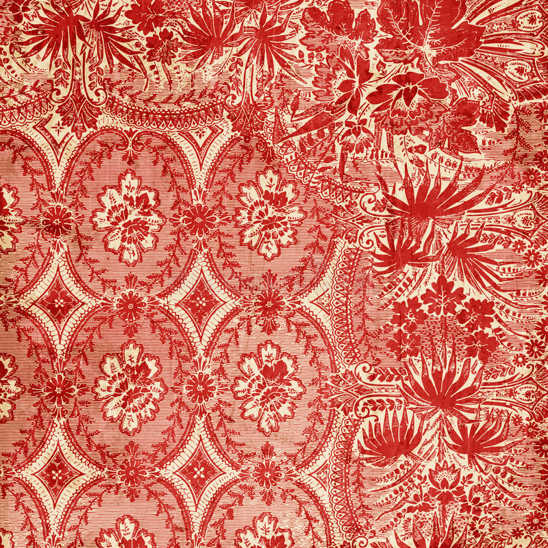 Red Antique Floral Damask Background. A red, floral damask textural background for scrapbooking and design, 12x12 inches in size vector illustration