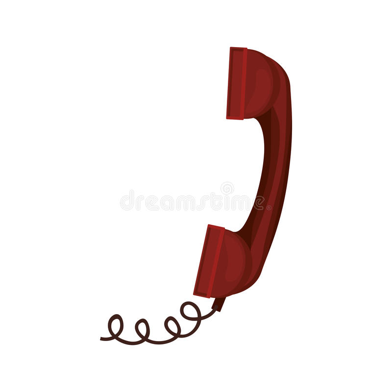 Red antique telephone with cord. Vector illustration vector illustration