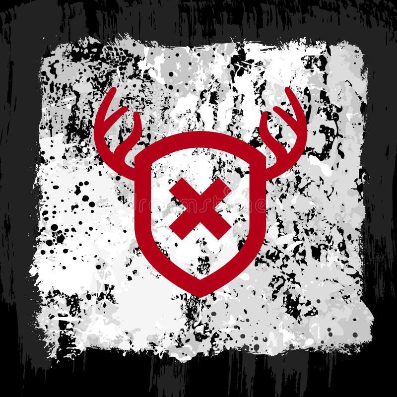 Download Red antler shield design stock vector. Image of grunge - 23027470