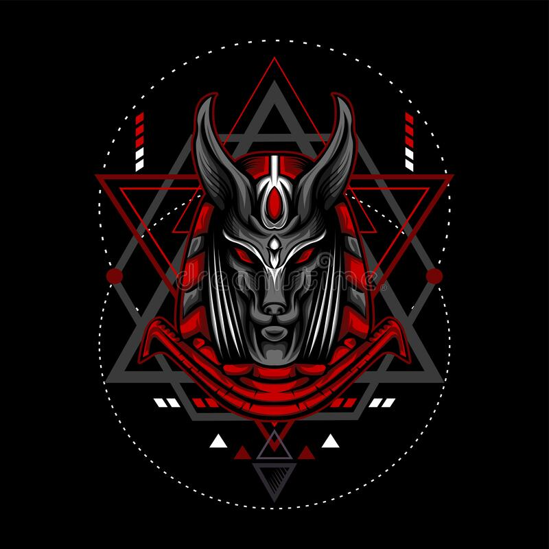 Free Red Anubis With Geometry Ornament Royalty Free Stock Image - 171621746