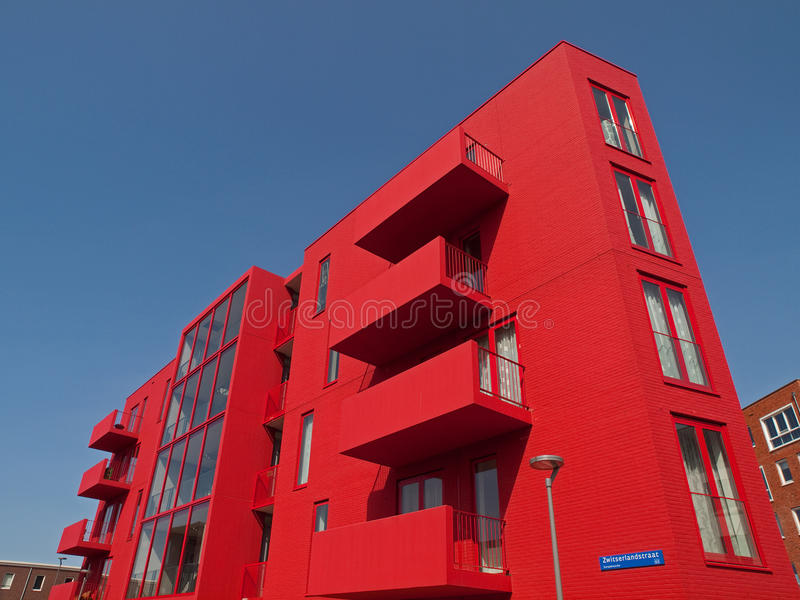 Red apartments. In Almere Netherlands royalty free stock image